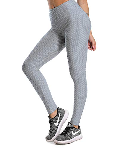 9d0c299e159 Fittoo Women's Honeycomb Ruched Butt Lifting High Waist Yoga Pants Chic  Sports Stretchy Leggings Grey(