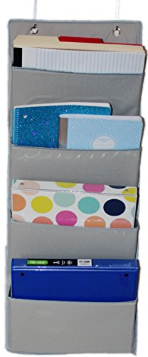 ECOHIP Wall Mount/Over the Door Office Supplies Storage Organizer, 4 Pockets, Letter Size, for Notebooks, Binders, Planners, File Folders, File Organizer, Folder Organizer, Wall Organizer, Grey