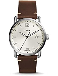 Men's The Commuter Quartz Stainless Steel and Leather Casual Watch, Color: Silver-Tone, Brown (Model: FS5275)