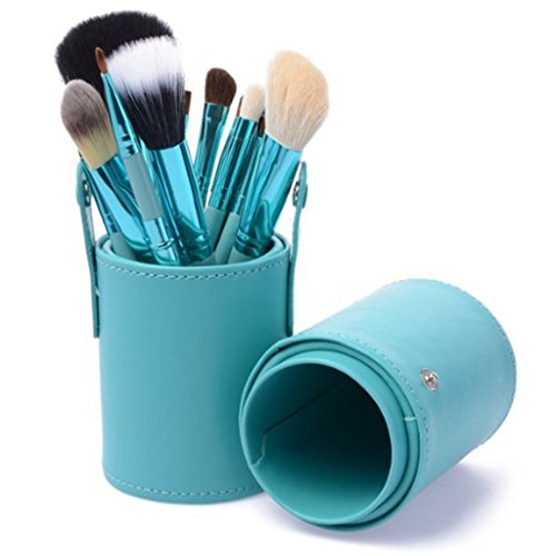 yber Monday Deals Week-easygogo 12pcs Makeup Brush Set Professional Face Cosmetic Brushes Kit Make up Tool with Cup Holder Case Christmas Gifts for Teen Girls (Teal Blue) ()