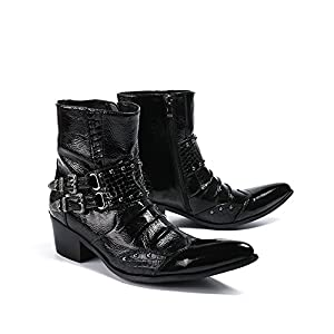Men's Shoes Leather Winter Fall Bootie Fashion Boots Boots Booties/Ankle Boots Pointed Toe for Casual Party & Evening (Color : A, Size : 39)