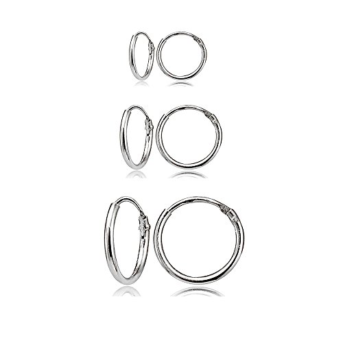 3 Pair Set Sterling Silver 10mm, 12mm & 14mm Tiny Small Lightweight Thin Round Continuous Endless Unisex Hoop Earrings
