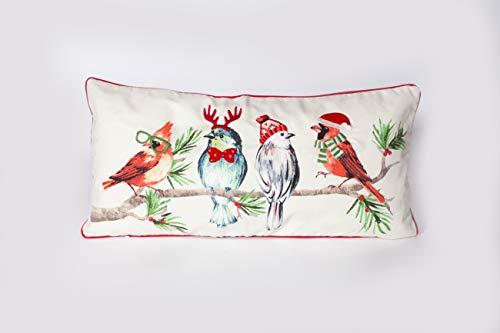 MON AMI Hipster Bird Christmas Lumbar Pillow Cover with 3D Decorative Details
