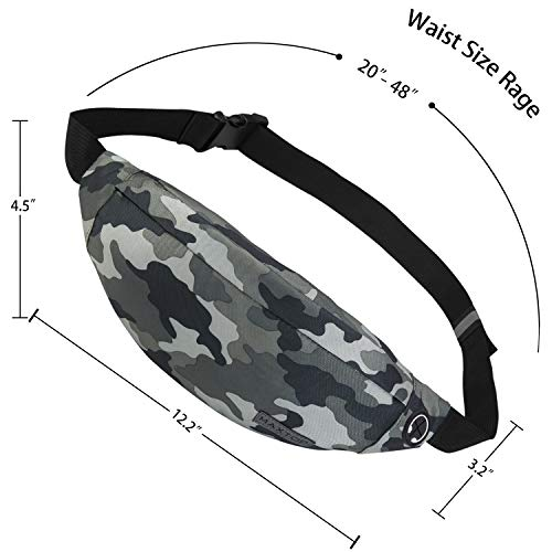 MAXTOP Fanny Pack for Men Women Waist Pack Bag with Headphone Jack and 3-Zipper Pockets Adjustable Straps