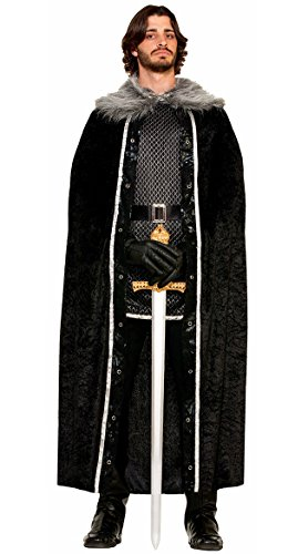 Fur Costumes For Men (Forum Novelties Men's Medieval Fantasy Faux Fur Trimmed Cape, Black, One Size)
