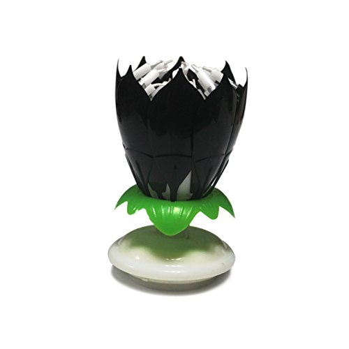Father's Day Sale Easy Gift ® The Amazing Happy Birthday Candle Romantic Musical Flower Party Light Intelligent Decorative Cake Candles With 14 Candles (Black)
