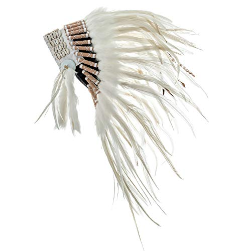 Novum Crafts Feather Headdress | Native American Indian Inspired | White (Feathers Indian Costume)
