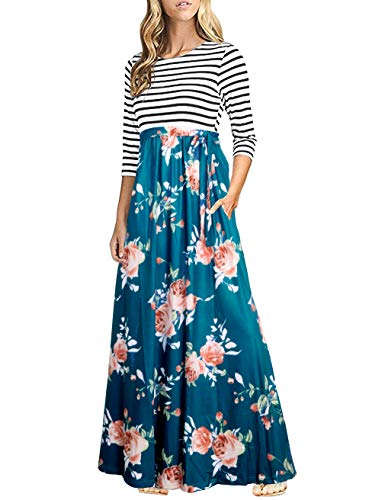 FANVOOK Dress 3/4 Sleeve, Women's Half Sleeve Floral Printed High Waist Pocket Long Maxi Dress Party Holiday Beach Wear Clothes GF 2XL