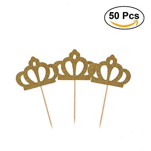 OUNONA 50 Pack Cupcake Toppers Gold Glitter Crown Princess C
