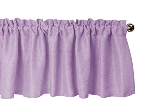 Aiking Home Pure 100% Faux Linen Window Valance - Size 56 inch x 16 inch, Lavender (Lilac Valance Curtains)