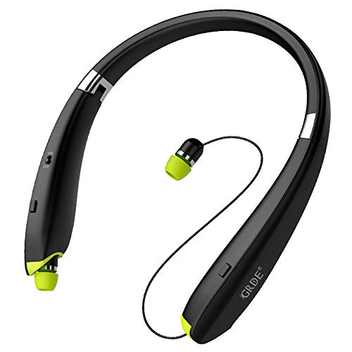 Bluetooth Headset, GRDE Wireless Bluetooth 4.1 Headphones with Retractable in-Ear Earbuds Noise Cancelling Stereo Earphones with Microphone Compatible for Samsung Cell Phones