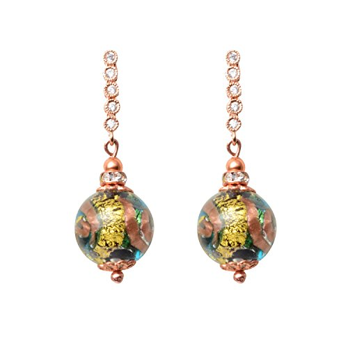Just Give Me Jewels Genuine Venice Vicenza Abstract Gold & Silver Foil Murano Glass Bead Dangle Earrings