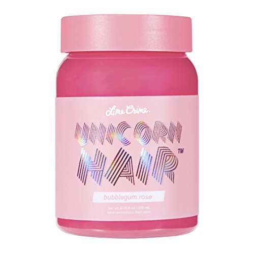 Lime Crime Unicorn Hair Bubblegum Rose (Full Coverage). Semi Permanent Hair Dye. Warm Rose Pink Vegan Hair Color (6.76 fl oz / 200 mL).
