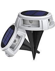 Solar Ground Lights, LITOM IP68 Waterproof LED Solar Lights Outdoor, Garden Disk Lights with 4 Lighting Modes, Solar Pathway Lights with Ground Stake Landscape Lighting for Yard Lawn Driveway (2Pack)