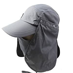 3CERA Outdoor 360 UV Protection Sun Block hat Folding Visor Fishing Nylon Cap Hiking (Grey)