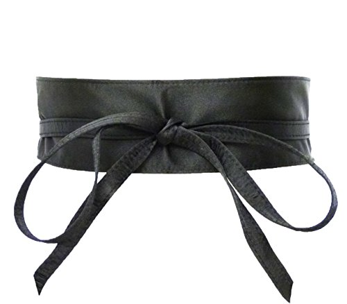 Satin Black Belt (Women's Wide Satin, Denim Self Tie Wrap Obi Waist Belt (2 Style) (Satin -)