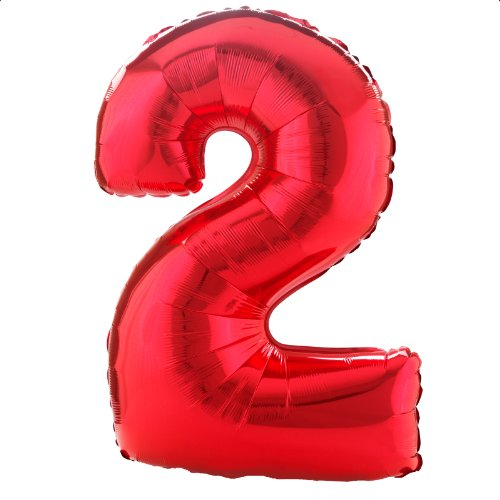 Foil Balloons Wholesale - Anagram Foil Balloon 2827701 Number 2-RED, 34
