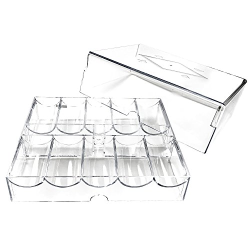 200 Chip Clear Acrylic Poker Chip Rack/tray with Cover by YH Poker