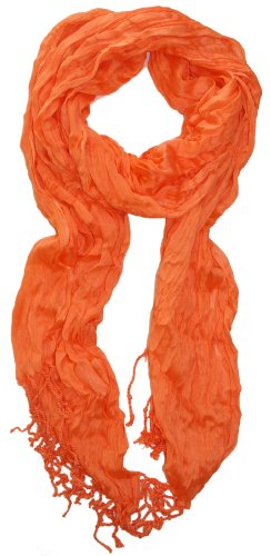 LibbySue-Solid Crinkle Scarf in Mandarine Orange