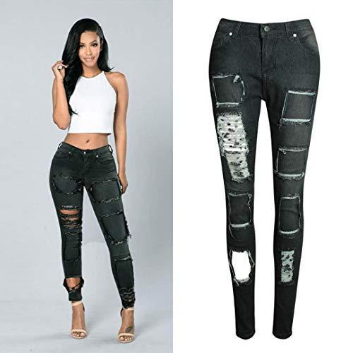 Pantaloni Casuale Slim Ragazze Elasticizzati Donna Alta Vita Denim Strappato Multicolore Jeans Strappati Leggings xaqnZwASE
