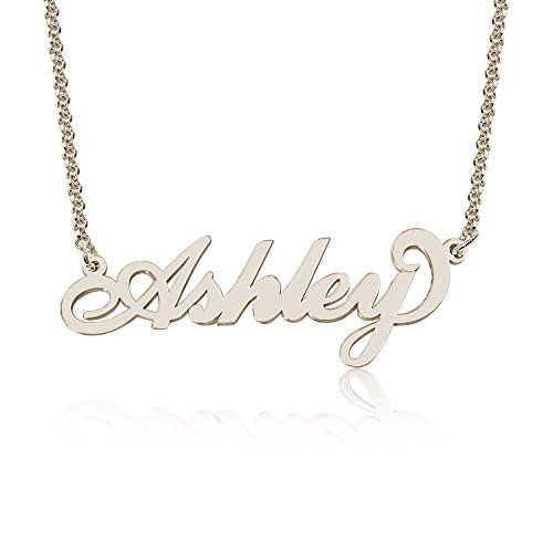 Personalized Ashley Name Necklace, Custom made in stock, Sterling Silver (Custom Made Nameplate Necklace)