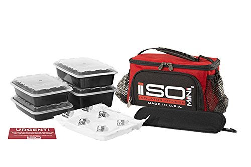 Isolator Fitness 2 Meal ISOMINI Meal Prep Management Insulated Lunch Bag Cooler With 4 Stackable Meal Prep Containers, ISOBRICK, and Shoulder Strap - MADE IN USA (Red) ()