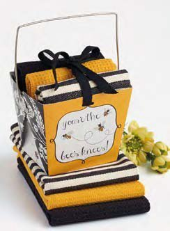 Design Imports Bees Knees Take Out Gift Box with 3 Dishcloth Set by Design Imports
