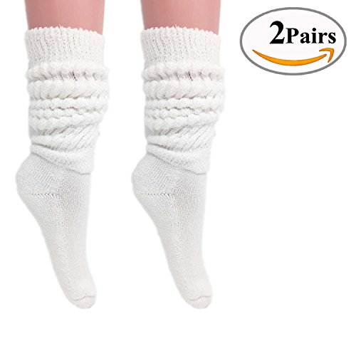 Slouch Socks Women and Men Extra Tall Heavy Cotton Socks Made in USA Size 9 to 11 (White, 2)