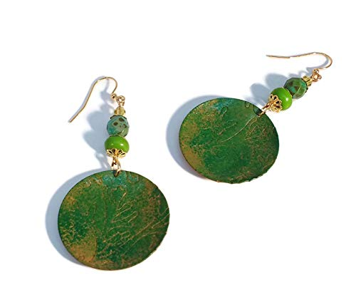 (Forest & Olive Green Boho Style Earrings, Coral Motif, Gold Plated Jewelry, Nickle Free, Unique One of a Kind)