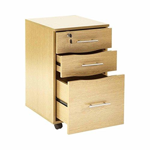 MMT Mobile Filing Cabinet Lockable 3 Storage Drawers Beech Under Desk Pedestal Unit 40 x 44 x 65 (w x d x h) Ideal Office Organizer File ()