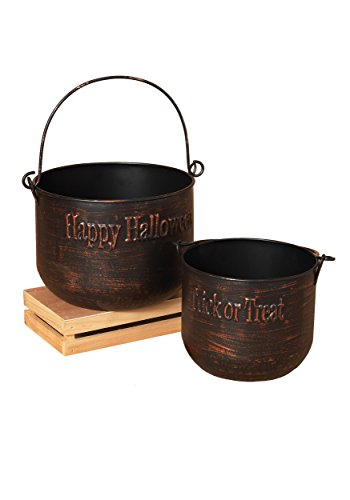 The Gerson Companies Brushed Copper Metal Halloween Witch's Cauldron Set -