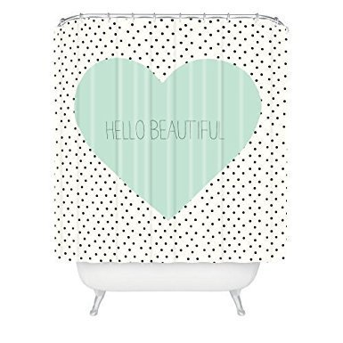 YEHO Art Gallery Allyson Johnson Hello Beautiful Heart Shower Curtain Set with Hooks 72X72 inches - Heart Shower Curtain