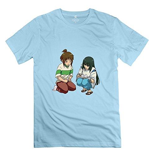 Hoxsin Men's Spirited Away Anime 100% Cotton T Shirt SkyBlue US Size XXL