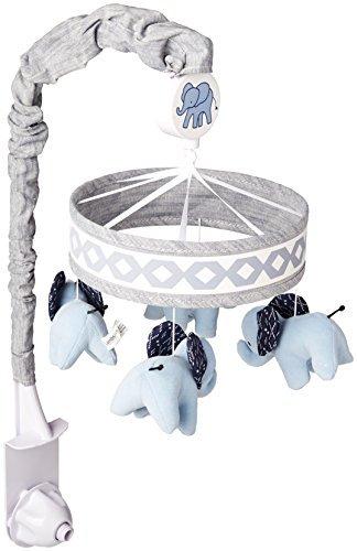 Lambs &Ivy Indigo Elephant Musical Mobile, Blue/White [並行輸入品]   B0785W3HN3