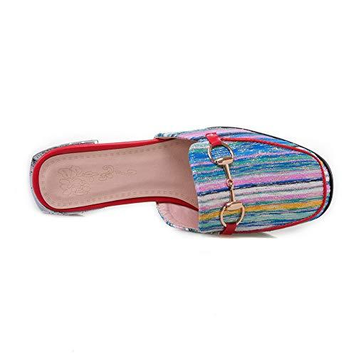 de ASL05602 Azul Rayas Varios Colores Sandalias Mujer de Costuras uretano BalaMasa H4Wxwq5RR