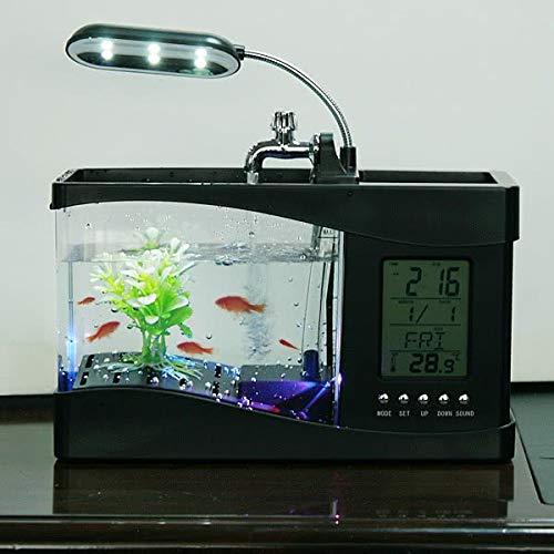 Popular USB Desktop Mini Fish Tank Aquarium Glass LCD Timer Clock LED Lamp Light Black White led aquarium fish tank   H4874, M