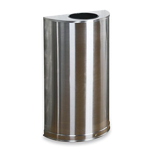 United Receptacle Inc . Round Wastebasket - RCPSO12SSSPL - United Receptacle SO12SSSPL Open Top Indoor Waste Receptacle