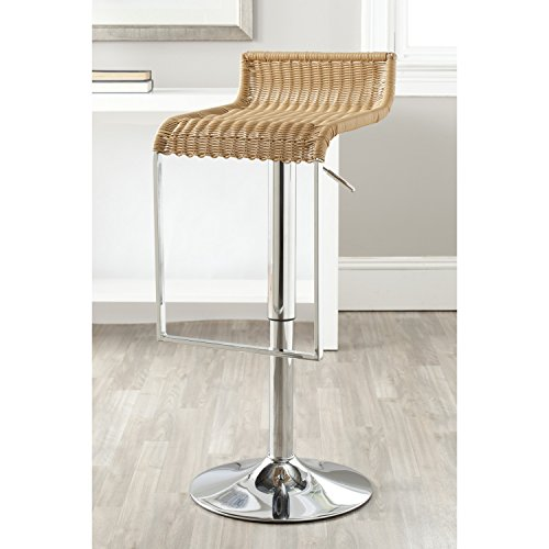 Cheap Safavieh Home Collection Zandrea Wicker Natural Adjustable Swivel Gas Lift 22.8-31.3-inch Bar Stool