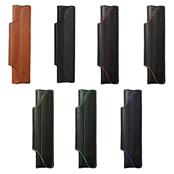 """Large One Pen Holder Quiver, Leather Pen Holder For Notebooks, Pen Case & Pen Sleeve, Black Leather, Blue Stitching, A5, 8"""" - 8.5"""" tall (20.3 cm - 21.6 cm)"""
