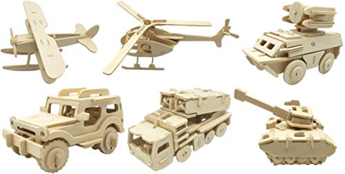 DIY 3D Wooden Vehicle Puzzles | Set of 6 | Airplane, Armored Car, Helicopter, Jeep, Missile Truck, Tank (Tank Wooden Car)