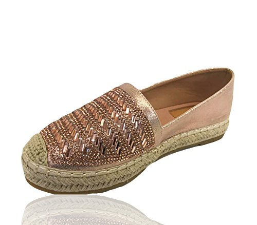 RoMaAn's IDeal Fashion Womens Ladies Flat Slip On Studs Espadrilles Rock Sandals Pumps Shoes Size 3-8 Pink JT5kURVPK