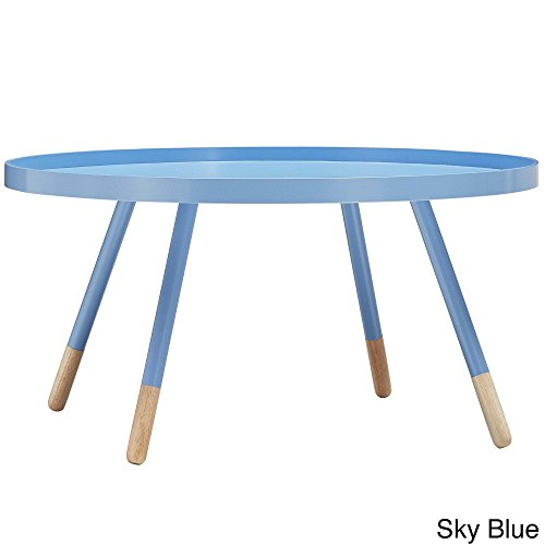 Frost Finish Desk - iNSPIRE Q Marcella Paint-dipped Round Spindle Tray Top Coffee Table Modern Blue Blue Finish