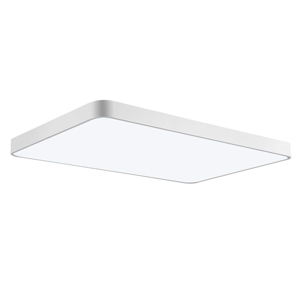 Rectangle led flush mount ceiling light, ultra thin 72w bathroom kitchen living lamp fixture,4320 lumens 3000 3500k 90x58cm shipment from usa
