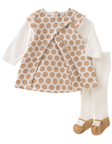 ABSORBA Baby Girls' Dress and Tight Set, Silent Vanilla/Oyster Grey, 3-6 (Baby Girls Dress)