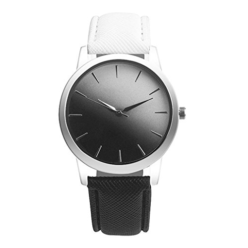 Watch Gold Lover (lovers' watches, Fitfulvan Retro Rainbow Design Leather Round Band Analog Alloy Quartz Wrist Watch)