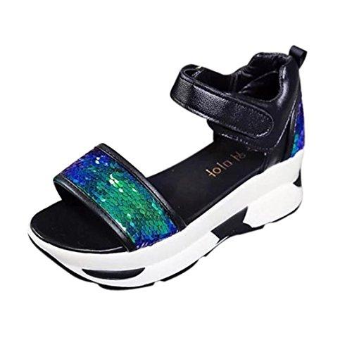 bescita Damen Sommer Sandalen Schuhe Peep-Toe Hohe Schuhe Römer Sandalen Damen Flip Flops mit Pailletten (37, Blau)