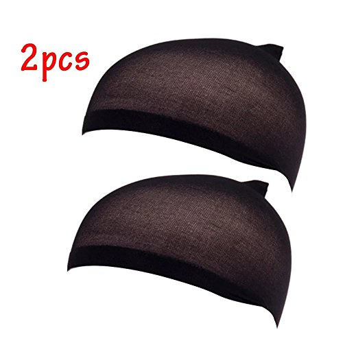 EYX Formula Pack of 2 Soft Nylon Tight Light Wig Cap ,Stretch Cover Wig Cap for Protecting Head and Hair (Black)