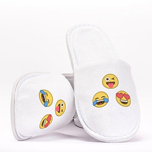 Emoji Emotions Tears of Joy Heart Eyes Tongue Pantuflas como Regalo Original para Despedidas de Soltera Bodas Cumpleaños o Viajar de Talla Única