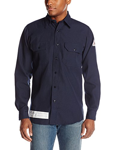 (Bulwark Flame Resistant 4.5 oz Nomex IIIA Long Uniform Shirt with Tailored Sleeve Placket, Topstitched Cuff, Navy, X-Large)