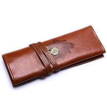 MeCool Retro Style Leather Rollup Pencil Case Portable Bag Vintage Pen Pouch Holder Multiple PU Pocket